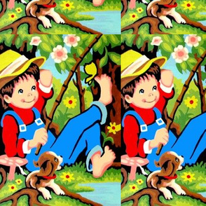 vintage retro kids boys children kids fishing country rural flowers trees grass mushrooms fungus dogs puppies lakes rivers butterfly overalls hats