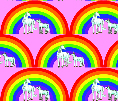 unicorns_and_rainbow_with_pink_background fabric by snappy_baby on Spoonflower - custom fabric