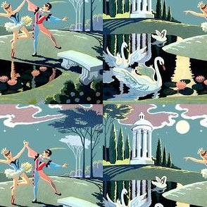 ballet gazebo trees moon clouds stars ballet ballerinas dancers dancing garden pond swans water lily lilies lakes masquerades masks flowers dancing