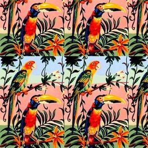 vintage retro kitsch tropics tropical forests plants trees flowers grass parrots toucans birds rainforests