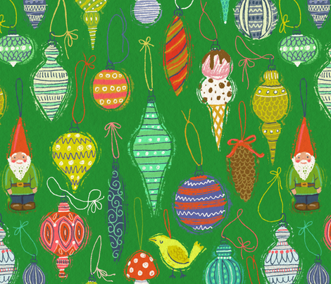 Ornaments on Green fabric by kirsten_sevig on Spoonflower - custom fabric