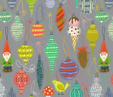 Ornaments on Grey fabric by kirsten_sevig on Spoonflower - custom fabric