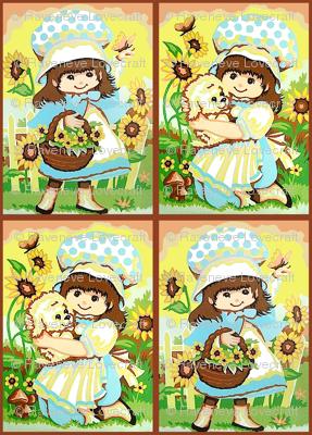 vintage kids kitsch strawberry shortcake inspired cape bonnet sunflowers grass garden dogs puppies puppy girl kids children country rural rustic