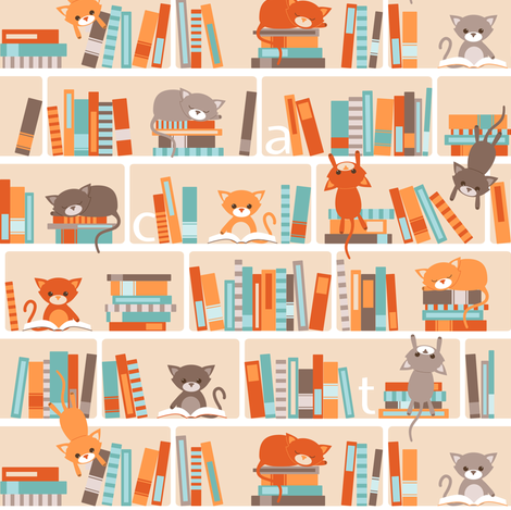 Library cats - small fabric by heleenvanbuul on Spoonflower - custom fabric