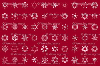 musical snowflakes large on crimson