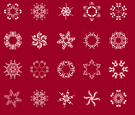 musical snowflakes large on crimson fabric by weavingmajor on Spoonflower - custom fabric
