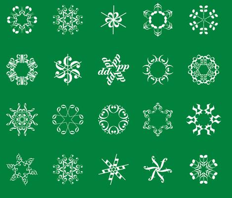 musical snowflakes large on deep green fabric by weavingmajor on Spoonflower - custom fabric