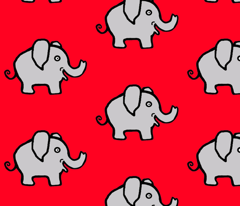 Cutie Pie Elephant on Bright Red fabric by sillasart on Spoonflower - custom fabric