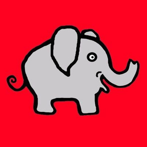 Cutie Pie Elephant on Bright Red