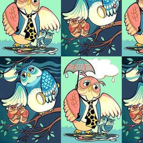 checkered chequered patchwork cheater quilt owls family parents father mother children day night raining umbrella torch light trees clouds grass kids