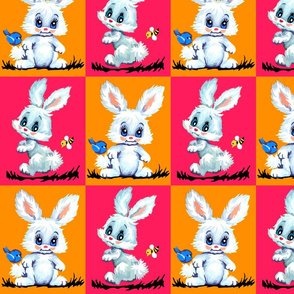 vintage retro kitsch checkered chequered patchwork cheater quilt bunny bunnies rabbits bumble bees birds