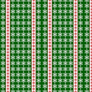 Snowflakes Ribbons Green