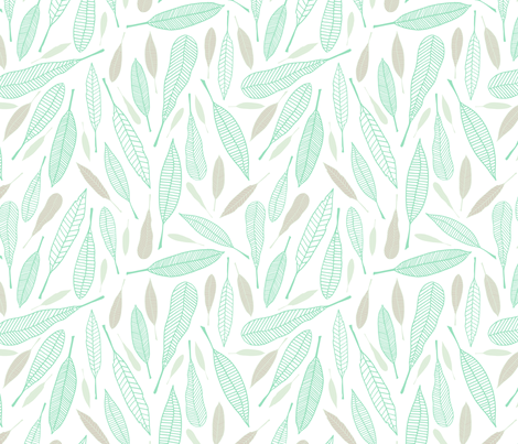 Fanciful Feathers Icy (Serene) fabric by brendazapotosky on Spoonflower - custom fabric