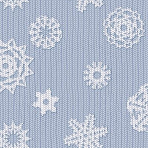 Holiday Snowflakes ~Faux Knit ~ Versailles Fog and White