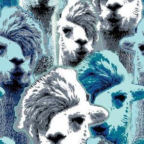 Hipster llamas in blue.