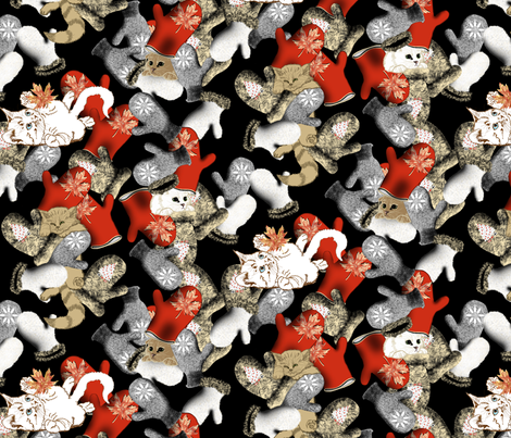 Playing Kittens_on_black fabric by house_of_heasman on Spoonflower - custom fabric