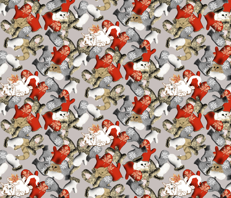 Kittens playing and sleeping on_silver fabric by house_of_heasman on Spoonflower - custom fabric