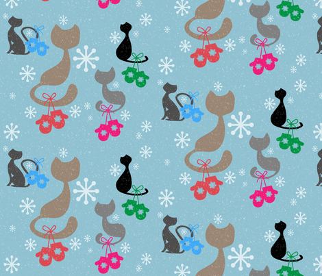 Kittens-and-Mittens fabric by kfrogb on Spoonflower - custom fabric