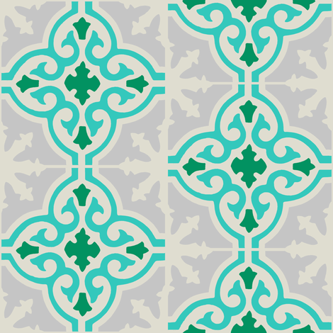 MARRUECOS - aqua and green fabric by marcador on Spoonflower - custom fabric