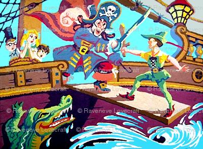 peter pan Neverland Wendy John Michael captain hook pirates tick tock crocodiles ships oceans seas fairy tales kids story children cutlass swords