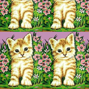 vintage retro kitsch cats pussy kittens flowers grass garden whimsical
