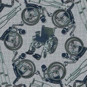 Wheelchair on textured background