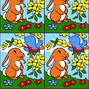vintage retro kitsch bunny bunnies rabbits birds trees flowers grass fields clouds daytime