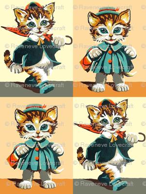 vintage kids kitsch checkered chequered patchwork cheater quilt cats kittens pussy toddlers children Anthropomorphic umbrella bag boys girls