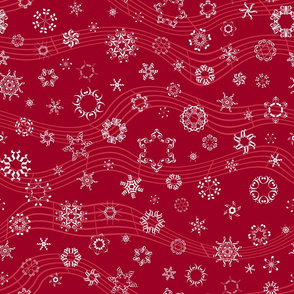 wind-blown musical snowflakes on crimson