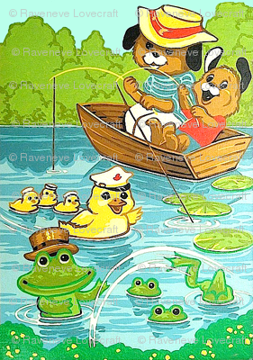 fishing dogs puppies puppy lily kids ducks ducklings goose geese frogs toads river ponds lakes forest bushes family parents children father vintage