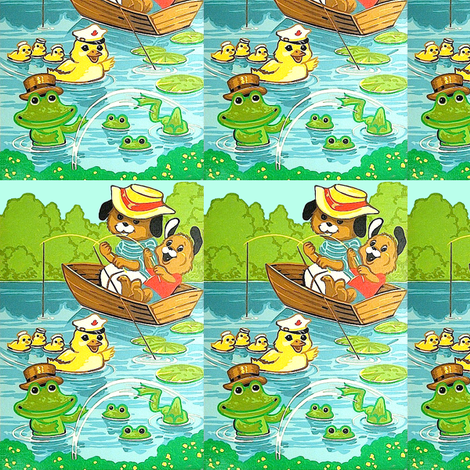 fishing dogs puppies puppy lily kids ducks ducklings goose geese frogs toads river ponds lakes forest bushes family parents children father vintage fabric by raveneve on Spoonflower - custom fabric