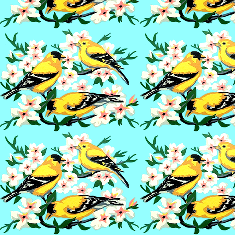 vintage retro kitsch birds tits flowers trees branches  fabric by raveneve on Spoonflower - custom fabric