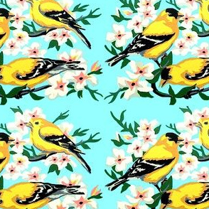 vintage retro kitsch birds tits flowers trees branches