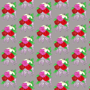 Bouquet of Roses- Grey Background