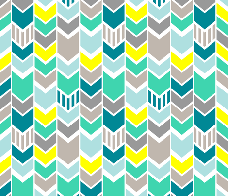 Teal gray yellow chevron wallpaper mrshervi spoonflower for Teal chevron wallpaper