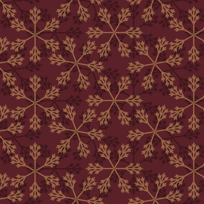 snowflakes red gold