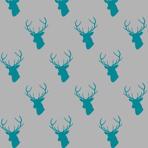 Teal Gray Deer Silhouettes