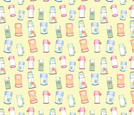 Thermos Yellow (larger) fabric by busy_work_ on Spoonflower - custom fabric