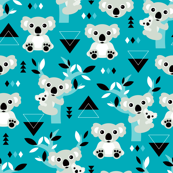 Koala winter blue geometric australian animal kids fabric