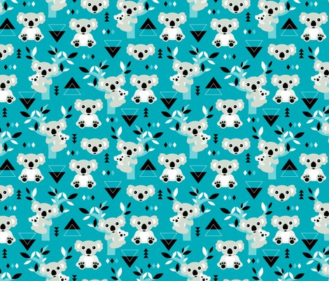 Koala winter blue geometric australian animal kids fabric for Animal print fabric for kids