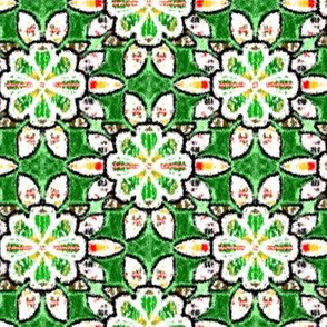 Green Velvety Floral