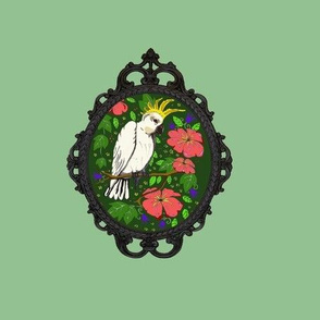cockatoos with frames green