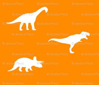 white on orange dinos
