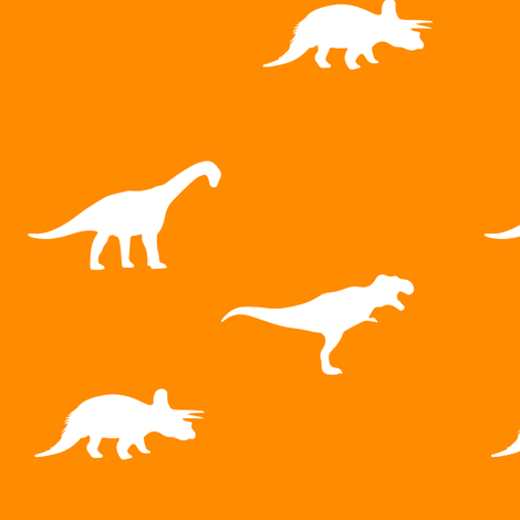 white on orange dinos fabric by littlearrowdesign on Spoonflower - custom fabric