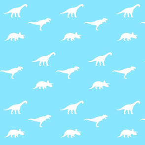 white on blue dino