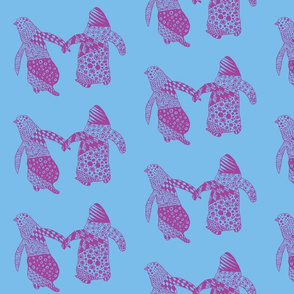 Penguin Pair - Raspberry & Light Blue