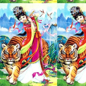 asian china chinese oriental chinoiserie ancient dynasty empress queens princess royalty palace gardens flowers tigers flute musician mountains birds
