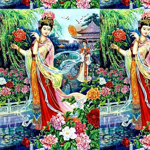 asian china chinese oriental chinoiserie ancient tang dynasty empress queens princess royalty palace gardens peony mudan flowers trees pavilion cranes