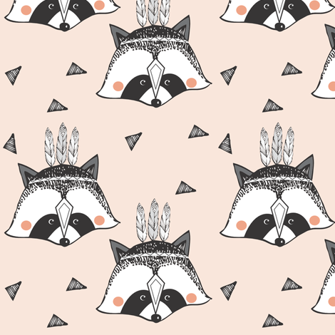 racoon nude - elvelyckan fabric by elvelyckan on Spoonflower - custom fabric