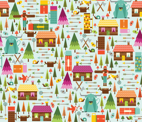 The Woodsman 2 Pink fabric by oliveandruby on Spoonflower - custom fabric